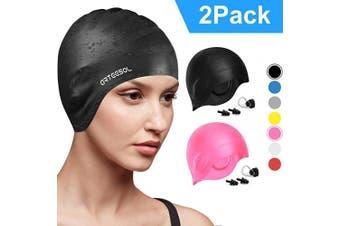 (black+pink, 2 pcs) - arteesol Swimming Cap, Anti-Slip Silicone Swim cap Anti-Tear Ergonomic Design Cover Ears for Long Hair Adults and Kids