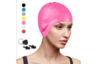 (pink, 1 pcs) - arteesol Swimming Cap, Anti-Slip Silicone Swim cap Anti-Tear Ergonomic Design Cover Ears for Long Hair Adults and Kids