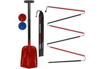 (Red - 260 cm) - ALPIDEX Avalance Kit : Aluminium Avalanche Probe and Telescope Snow Shovel Lightweight