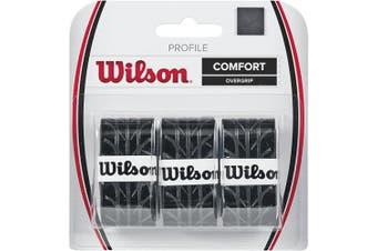 (NS, Black) - Wilson Tennis Profile Racket Overgrip (3 Pieces)