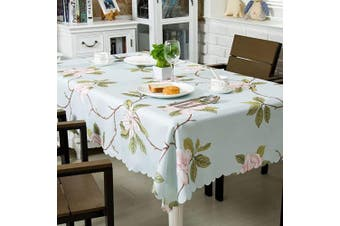 (150cm  x 210cm  Rectangular, Rose Blue) - OstepDecor Floral Tablecloth 150cm x 210cm , Rectangle Table Cloth, Waterproof Tablecloths, Decorative Table Cover for Kitchen Dinning Room Party, Rose Blue