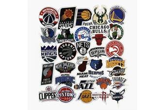 (Nba Team Logo) - Jasion 30-Pcs Vinyl Stickers Waterproof NBA Basketball Team Logo All Complete Set Graffiti Decals for Water Bottles Cars Motorcycle Skateboard Portable Luggages Phone Ipad Laptops