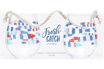 (440ml, Nautical) - C.R. Gibson QWG2-18679 Beach House and Nautical Décor Fish Themed Acrylic Stemless Wine Glass, Set of 2, 440ml