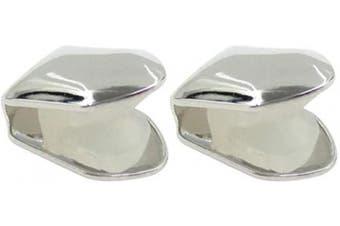 (Silver) - Artibetter 2Pcs Silver Single Tooth Fangs Grillz Cap for Teeth Hip Hop Teeth Plain Solid Bling Slugs