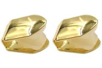 (Golden) - Artibetter 2Pcs Golden Single Tooth Fangs Grillz Cap for Teeth Hip Hop Teeth Plain Solid Bling Slugs