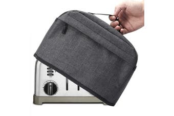 (4 Slice, Dark Gray) - 4 Slice Toaster Cover with Zipper & Open Pockets Kitchen Small Appliance Cover with Handle, Dust and Fingerprint Protection, Machine Washable, Dark Grey
