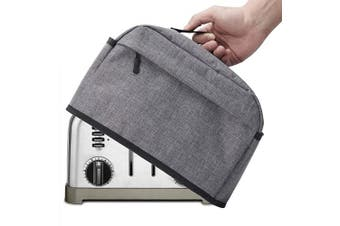 (4 Slice, Gray) - 4 Slice Toaster Cover with Zipper & Open Pockets Kitchen Small Appliance Cover with Handle, Dust and Fingerprint Protection, Machine Washable, Grey
