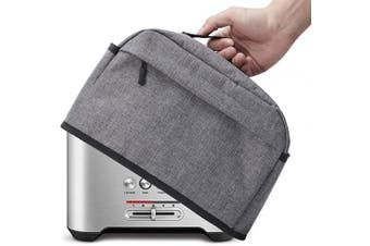 (2 Slice, Gray) - 2 Slice Toaster Cover with Zipper & Open Pockets Kitchen Small Appliance Cover with Handle, Dust and Fingerprint Protection, Machine Washable, Grey