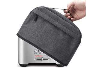 (2 Slice, Dark Gray) - 2 Slice Toaster Cover with Zipper & Open Pockets Kitchen Small Appliance Cover with Handle, Dust and Fingerprint Protection, Machine Washable, Dark Grey