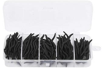 Vbest life Worm Lures with Storage Box,150 pcs 4cm Silicone Black Artificial Worm Earthworm Soft Fishing Lures Bait Fish Tackle Accessories Kit