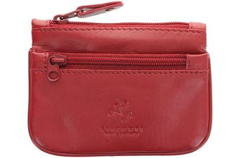 (Red) - Visconti Leather Zip Top Coin Purse/Keycase CP3 Red