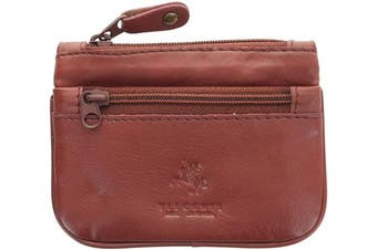 (Brown) - Visconti Leather Zip Top Coin Purse/Keycase CP3 Brown