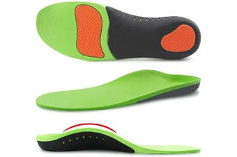 (11-13, Green) - Ailaka Orthotic Cushion Arch Support Shoe Insoles, Unisex Daily Shock Absorption Gel Sports Inserts for Flat Feet, Plantar Fasciitis, Feet Heel Pain Relief