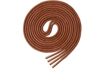 (100 cm, Light Brown) - Round Waxed Shoelaces (2 Pairs) - for Oxford Shoes Round Dress Shoes Boots Leather Shoe Laces