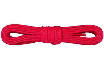 (90 cm – 36 inch – 5-6 eyelet pairs, 31 - Red) - Fancy Waxed Flat Shoe Boot Laces, 100% Finest Cotton, Colourful Fashion, 5 mm - 0.19 inch Width, Many Colours And Lengths, Made in Europe by Kaps