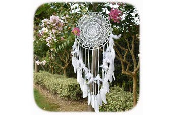 Aglife Large White Boho Dream Catcher with White Feather Hanging Wedding Decoration Ornament Gilf, Circle 35cm ,90cm Long