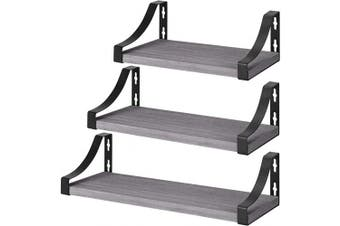 (Grey) - Amada Floating Shelves Wall Mounted, Rustic Paulownia Wood Wall Shelves Set of 3 for Bedroom, Bathroom, Living Room, Farmhouse Kitchen, Grey