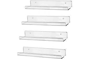 "hblife 15"" Clear Acrylic Floating Wall Ledge Shelf, Wall Mounted Nursery Kids Bookshelf, Invisible Spice Rack, Clear 5MM Thick Bathroom Storage Shelves Display Organiser, 15"" L x 4"" D x 2"" H, Set of 4"