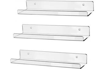 """hblife 15"""" Clear Acrylic Floating Wall Ledge Shelf, Wall Mounted Nursery Kids Bookshelf, Invisible Spice Rack, Clear 5MM Thick Bathroom Storage Shelves Display Organiser, 15"""" L x 4"""" D x 2"""" H, Set of 3"""