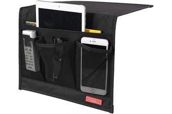 (4 Pockets-black) - Falaku Bedside Caddy,Bedside Organiser Caddy Under Mattress,Holds Magazines,Books (4 Pockets-Black)