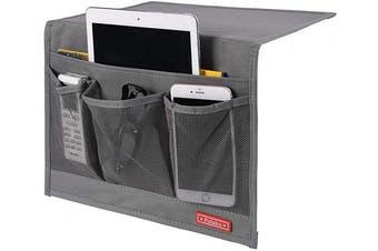(4 Pockets-grey) - Falaku Bedside Caddy,Bedside Organiser Caddy Under Mattress,Holds Magazines,Books (4 Pockets-Grey)