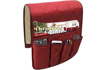 (Cotton-claret) - Sofa Armrest Organiser, Cotton Couch Arm Chair Caddy with 5 Pockets,Remote Control Holder, Magazines Holder,Draped Over Sofa, Couch, Recliner Armrest
