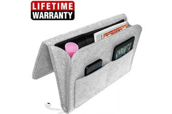 (Grey) - Actor Bedside Caddy Felt Storage Organiser, Under Couch Table Mattress Caddy for Holding Books Magazines Tablet Phone - Five Pockets and Side Charging Cable Hole(Grey with Hole)