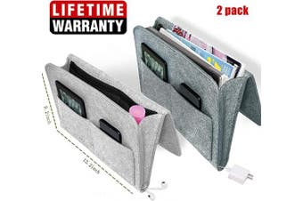 (Clear) - Bedside Caddy Felt Storage Organiser, Under Couch Table Mattress Caddy for Holding Books Magazines Tablet Phone - Five Pockets and Side Charging Cable Hole, Large Size 23cm x 34cm inch Laptop Holder