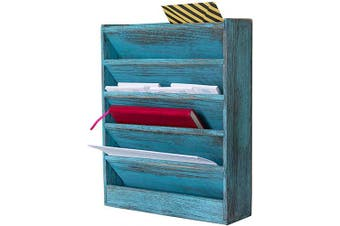 (Rustic Blue) - Comfify Rustic Wood Document Filing Organiser for Home or Office – Wall Mounted Magazine Holder with 5 Slots – Mail Organiser for Wall – Real Torched Wood Mail Rack Tray – Rustic Blue