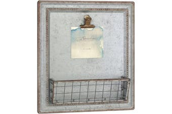 Stonebriar Beach House Galvanised Metal Wall Decor with Basket, Grey
