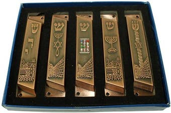 Large Set of 5 Copper Tone with Clean and Smooth Cut and Gold Plated Mezuzahs Symbols with Different enamelled Themes. Each is About 10cm and Comes with Scrolls and Screws for Hanging
