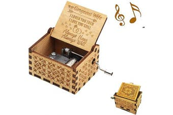 (Wood- to Wife) - Aokely Music Box Hand Crank Musical Box Vintage Wood Carved Sunshine Musical Box Crafts Gifts for Birthday/Christmas/Valentine's Day (to Wife)