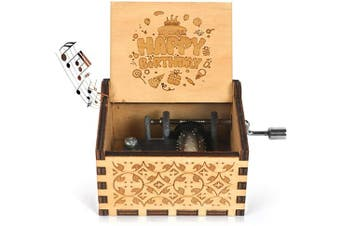 (Happy Birthday) - BOOB Happy Birthday Music Box Hand Crank Musical Box Play Happy Birthday Tunes Engraved Carved Wood Musical Birthday Gifts for Kids Children Parents Friends etc
