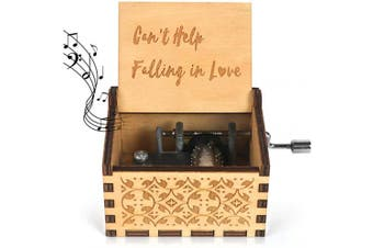 (Can't Help Falling in Love) - Wooden Music Box-Can't Help Falling in Love Wood Laser Engraved Vintage Hand Cranked Cute Musical Box Best Gifts for Wedding Day/Anniversary/Valentine's Day/Birthday