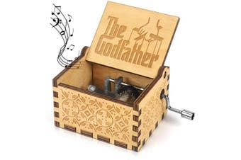(God Father) - Music Box for The God FatherCarved Wooden Hand Crank Musical Box Vintage Classic Handmade Engraved Valentines Birthday Gift for Kids, Boys, Girls, Friends