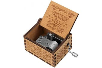 (To Wife) - You are My Sunshine Wood Music Boxes,Laser Engraved Vintage Wooden Sunshine Musical Box Gifts for Birthday/Christmas/Valentine's Day (Classic) (to Wife)