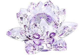 (4 Inch/ 100MM Purple) - OwnMy Sparkle Crystal Lotus Flower Hue Reflection Feng Shui Home Decor with Gift Box (4 Inch/ 100MM Purple)