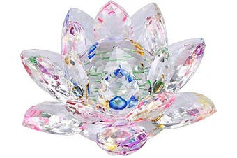(4 Inch/ 100MM Rainbow) - OwnMy Sparkle Crystal Lotus Flower Hue Reflection Feng Shui Home Decor with Gift Box (4 Inch/ 100MM Rainbow)