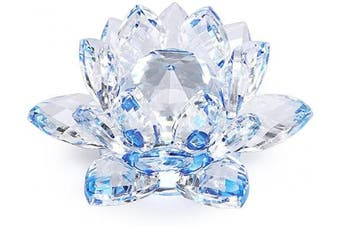 (4 Inch/ 100MM Blue) - OwnMy Sparkle Crystal Lotus Flower Hue Reflection Feng Shui Home Decor with Gift Box (4 Inch/ 100MM Blue)
