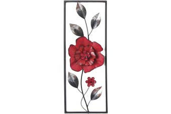 (Red Flower) - All American Collection New Modern Chic Aluminium/Metal Wall Decor Frame 30cm x 80cm (Red Flower)