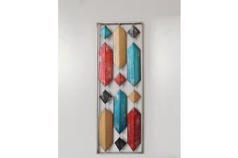 (Multi Color Long Hexagon) - All American Collection New Aluminium/Metal Wall Decor with Frame (Multi Colour Long Hexagon)