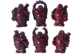 (2.5'' Resin Red Set) - Brass Statu 6.4cm Red Resin Laughing Buddha Figurines Good Gift and Collection Set of 6 (Big red)