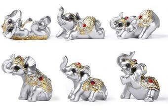 (Silver) - Silver Resin Small Elephants Statues Home Decor Collection Gift Set of 6 BS122 (Silver)