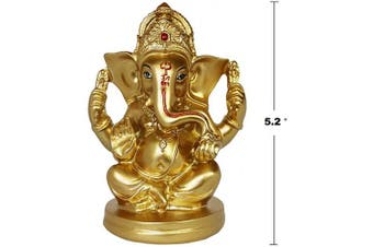 (Gold-3a) - India Home Pooja Item Puja Ganesha Statue - Indian Ganesh Ganpati Wedding Party Arts Presents - Hindu Home Mandir Diwali Decoration