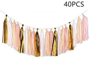 (Gold+peach Color+light Pink+white/40pcs) - 40PCS Shiny Tassel Garland Tissue Paper Tassel Banner,Table Decor,Tassels Party Decor Supplies for Wedding,Birthday,Bridal/Baby Shower,Anniversary,DIY Kits - (Gold/Peach Colour/Light Pink/White)