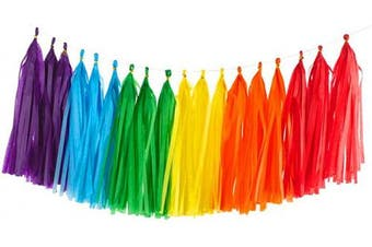 (Red+orange+yellow+green+blue+purple/30pcs) - 30PCS Shiny Tassel Garland Tissue Paper Tassel Banner,Table Decor,Tassels Party Decor Supplies for Wedding,Birthday,Bridal/Baby Shower,Anniversary,DIY Kits - (Red/Orange/Yellow/Green/Blue/Purple)