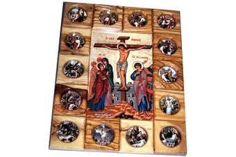 (Crucifixion) - Holy Land Market Stations of The Cross Icon Plaque All in Olive Wood from Bethlehem (29 x 24 cm or 11.5 x 9.5 inches) (Crucifixion)