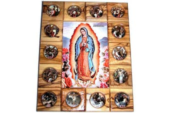 (Guadalupe) - Holy Land Market Stations of The Cross Icon Plaque All in Olive Wood from Bethlehem (29 x 24 cm or 11.5 x 9.5 inches) (Guadalupe)