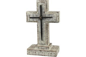 Stonebriar Accents of Faith 23cm Wooden Pedestal Cross with Metal Details, Grey