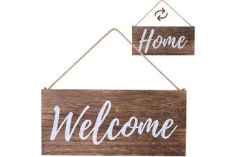 ALBEN Hanging Wooden Welcome Sign - Reversible Message Home or Welcome - 30cm x 15cm Rectangular Front Door Decor - Rustic Natural Farmhouse Grain Wood (Brown)